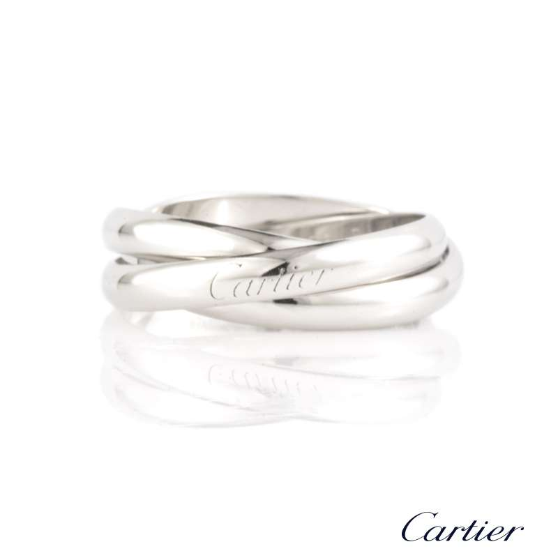 Cartier 18k White Gold Gents Trinity Ring